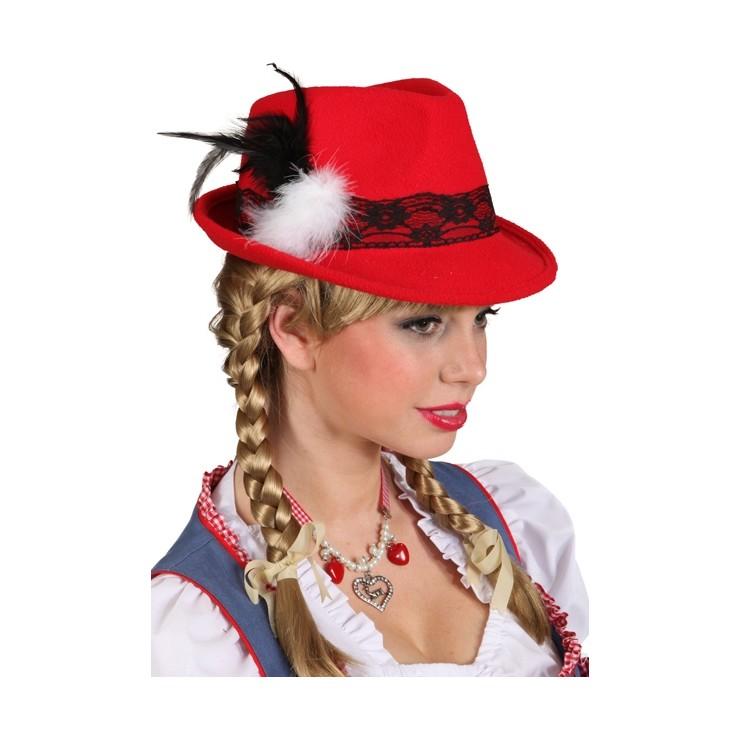 Chapeau Bavarois rouge pour femme